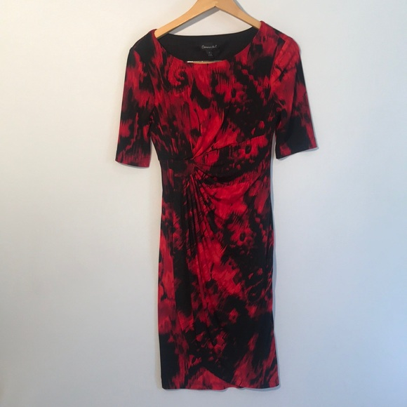connected apparel Dresses & Skirts - Connected apparel red and black 3/4 sleeve dress